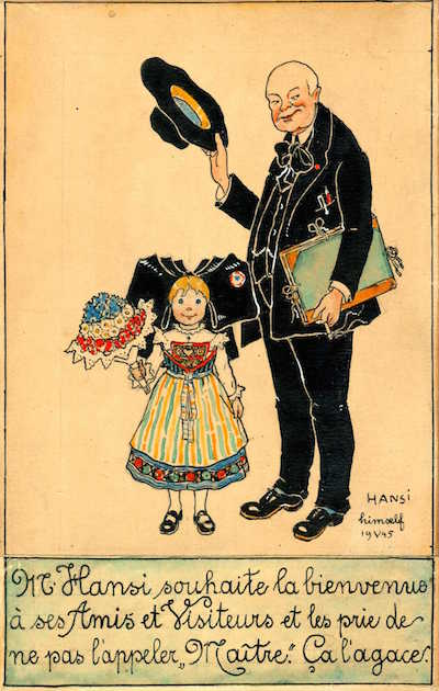 Dessin illustrant Hansi et une petite fille en costume traditionnel alsacien